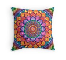 Lotus Rainbow Mandala Throw Pillow