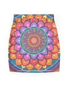Lotus Rainbow Mandala Mini Skirt