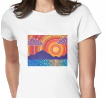 Elegant Sunset over Mountains Womens Fitted T-Shirt