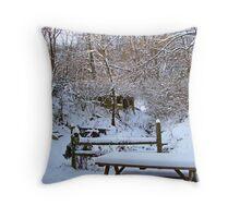 Winter Yard Throw Pillow