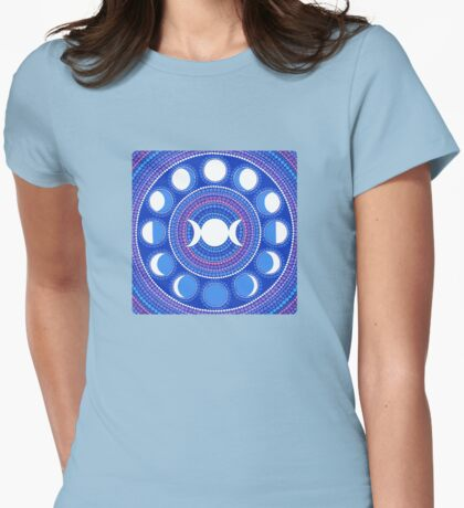 Moon Cycle Mandala Womens Fitted T-Shirt