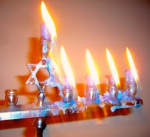 Hanukkah Candles Glow by Jonathan  Green