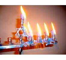 Hanukkah Candles Glow Photographic Print