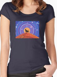 Night of the Wandering Wolf Women's Fitted Scoop T-Shirt