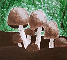 Mushrooms Painting by Christopher Johnson