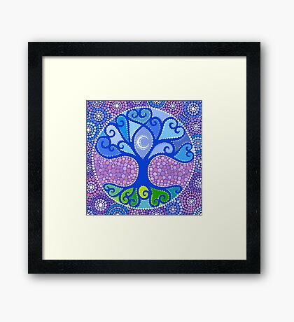 Moon-Tree Mandala Framed Print