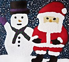 Santa with Snowman Painting by Christopher Johnson