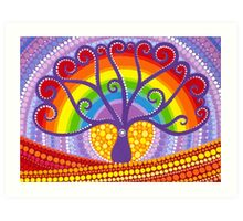 Rainbow Boab Tree of Life Art Print