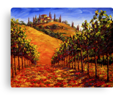Tuscany Vineyard on the Hill Canvas Print