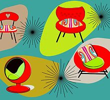 Modern Mid-Century Retro Chair Illustations by Artification