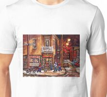DEPANNEUR FAMILIALE VILLE EMARD MONTREAL WITH BOYS PLAYING HOCKEY AT NIGHT Unisex T-Shirt