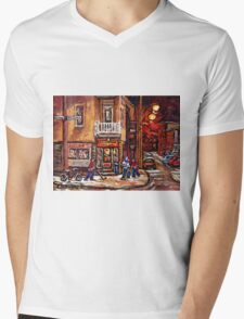 DEPANNEUR FAMILIALE VILLE EMARD MONTREAL WITH BOYS PLAYING HOCKEY AT NIGHT Mens V-Neck T-Shirt