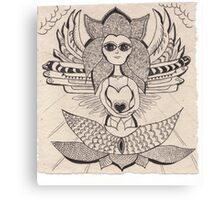 Angel holding love heart Canvas Print