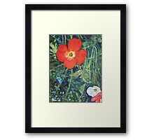 Garden with Bright Red and White Poppies Framed Print