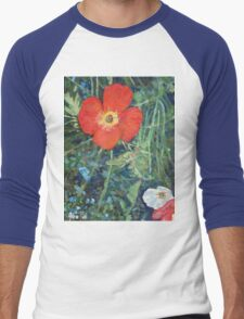 Garden with Bright Red and White Poppies Men's Baseball ¾ T-Shirt