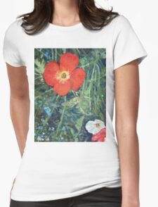 Garden with Bright Red and White Poppies Womens Fitted T-Shirt