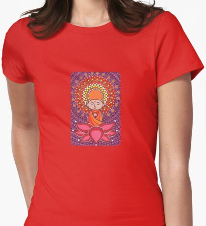 Jizo Meditating upon a Ruby Lotus Womens Fitted T-Shirt