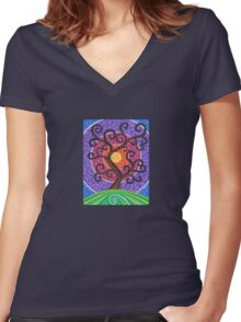 Spiralling Tree of Life Women's Fitted V-Neck T-Shirt
