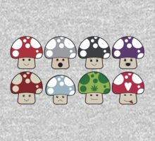 Colourful Mushrooms! One Piece - Short Sleeve