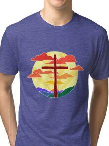 Christian Cross Sunrise Tri-blend T-Shirt