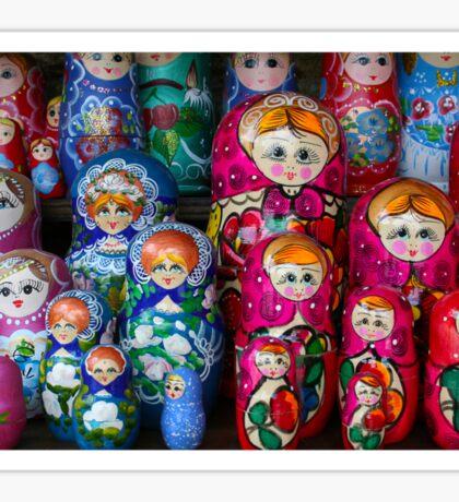Colorful Russian Nesting Dolls Matreshka Sticker