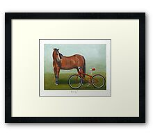Horse regards bike with disdain Framed Print