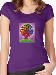 Rainbow Orb Tree of life Women's Fitted Scoop T-Shirt
