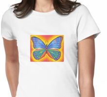rainbow vibrant butterfly Womens Fitted T-Shirt