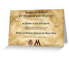 Hogwarts Diploma Poster - Defense Against the Dark Arts OWL Greeting Card
