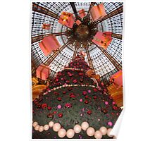 Christmas tree and gifts in Paris shopping store Poster