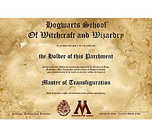 Official Hogwarts Diploma Poster - Transfiguration Photographic Print