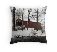 Snowstorm at Poole Forge Covered Bridge Throw Pillow