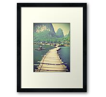 Wooden foot bridge in China Framed Print