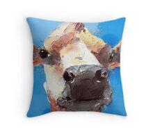 mucca blu Throw Pillow
