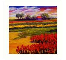 Red Tulips in the Netherlands Art Print
