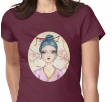Illustrated White Tea Girl Womens Fitted T-Shirt