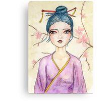 Illustrated White Tea Girl Canvas Print