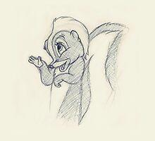 Flower, Walt Disney Bambi Pencil Drawing by Kate Crabtree