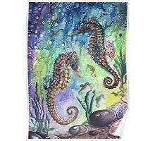 Batik Seahorses Poster