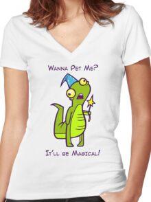 Wizard Lizard Women's Fitted V-Neck T-Shirt