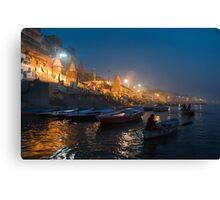 Varanasi Ghats-Before Sunrise-1 Canvas Print