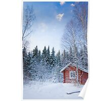 Wooden house in winter Poster