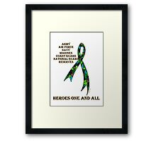 Green Camoflauge Ribbon of Support Framed Print