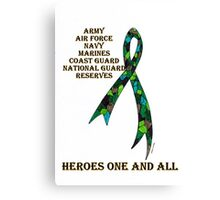Green Camoflauge Ribbon of Support Canvas Print