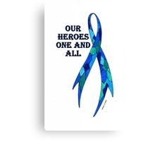 Blue Camoflauge Ribbon of Support  Canvas Print