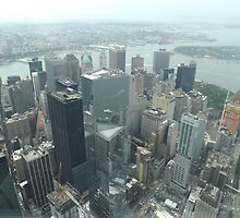 Aerial View of Lower Manhattan, Governors Island, View from One World Observatory, World Trade Center Observation Deck by lenspiro