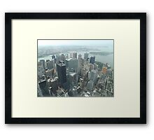 Aerial View of Lower Manhattan, Governors Island, View from One World Observatory, World Trade Center Observation Deck Framed Print