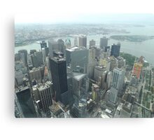 Aerial View of Lower Manhattan, Governors Island, View from One World Observatory, World Trade Center Observation Deck Canvas Print