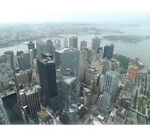 Aerial View of Lower Manhattan, Governors Island, View from One World Observatory, World Trade Center Observation Deck Photographic Print