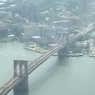 Aerial View of Brooklyn Bridge, View from One World Observatory, World Trade Center Observation Deck by lenspiro